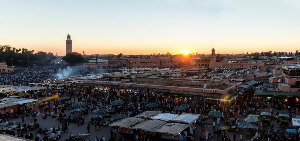 Viajes en Moto Marrakech al atardecer